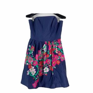 Lilly Pulitzer lottie blue floral strapless dress
